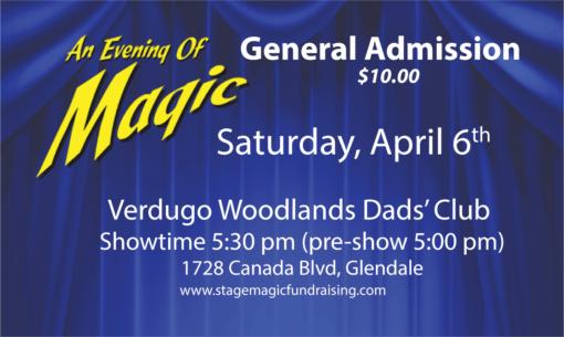 Magic Show at the Dads Club at 5:30pm
