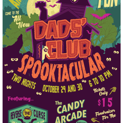 Dads' Club Spooktacular Flyer with purple and green background and text that reads Dads' Club Spooktacular